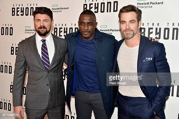 "Karl Urban, Idris Elba and Chris Pine attend the ""Star Trek Beyond"" New York Premiere at Crosby Street Hotel on July 18, 2016 in New York City."