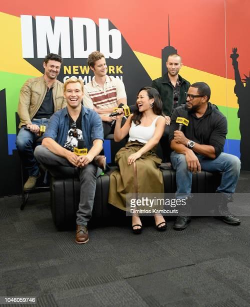 Karl Urban Jack Quaid Chace Crawford Antony Starr Karen Fukuhara and Laz Alonso of 'The Boys' attend IMDb at New York Comic Con Day 1 at Javits...