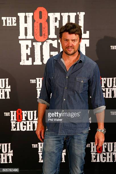 Karl Urban poses ahead of the New Zealand premiere of The Hateful Eight at Event Cinemas in Newmarket on January 20 2016 in Auckland New Zealand