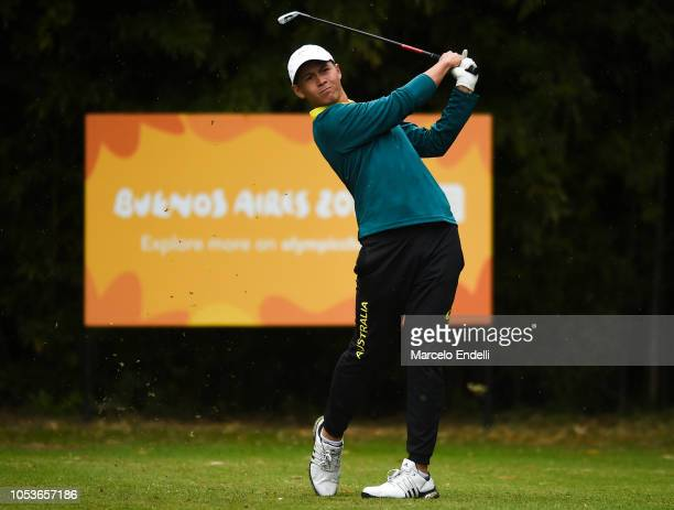 Karl Vilips of Australia tees off eighteenth tee during day 5 of Buenos Aires 2018 Youth Olympic Games at Hurlingham Club on October 11 2018 in...
