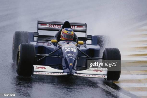 Karl Wendlinger drives the Red Bull Sauber Ford Sauber C14 Ford ZetecR 30 V8 in the wet bexcause of rain during practice for the Brazilian Grand Prix...
