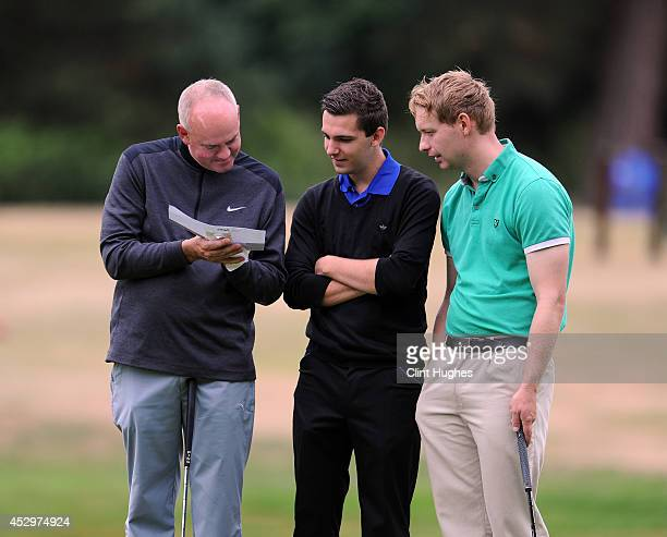 Karl Worby and Alex Boyton of Skidby Lakes Golf Club check their score card during the Golfbreaks PGA Fourball Championship North Region Qualifier at...