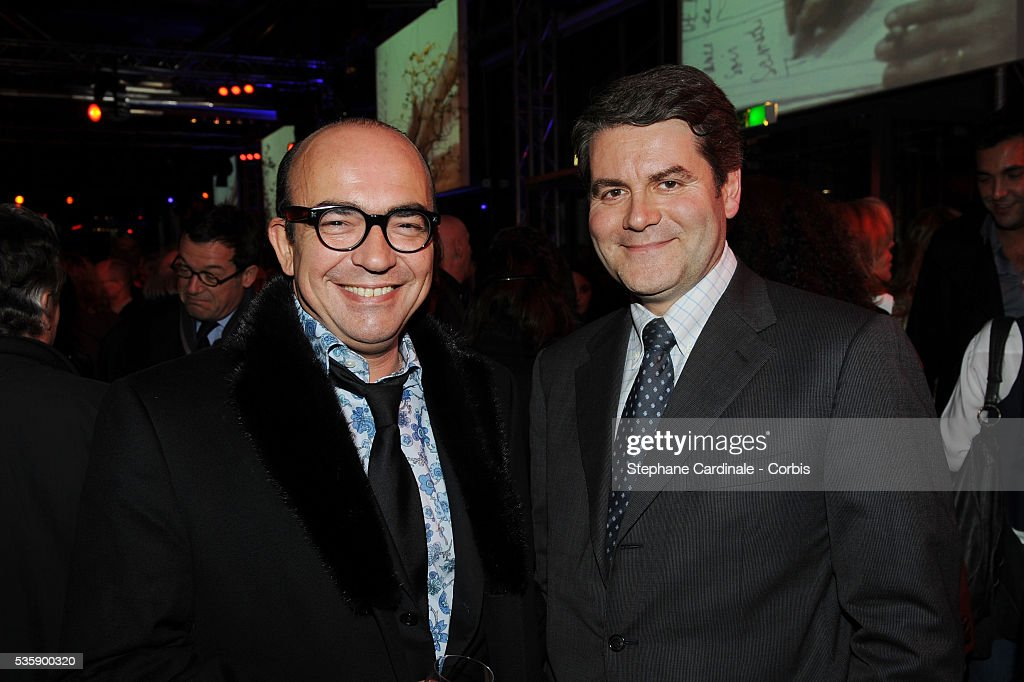 Karl Zero and Franck Louvrier attend France Soir Launch Party in Paris.