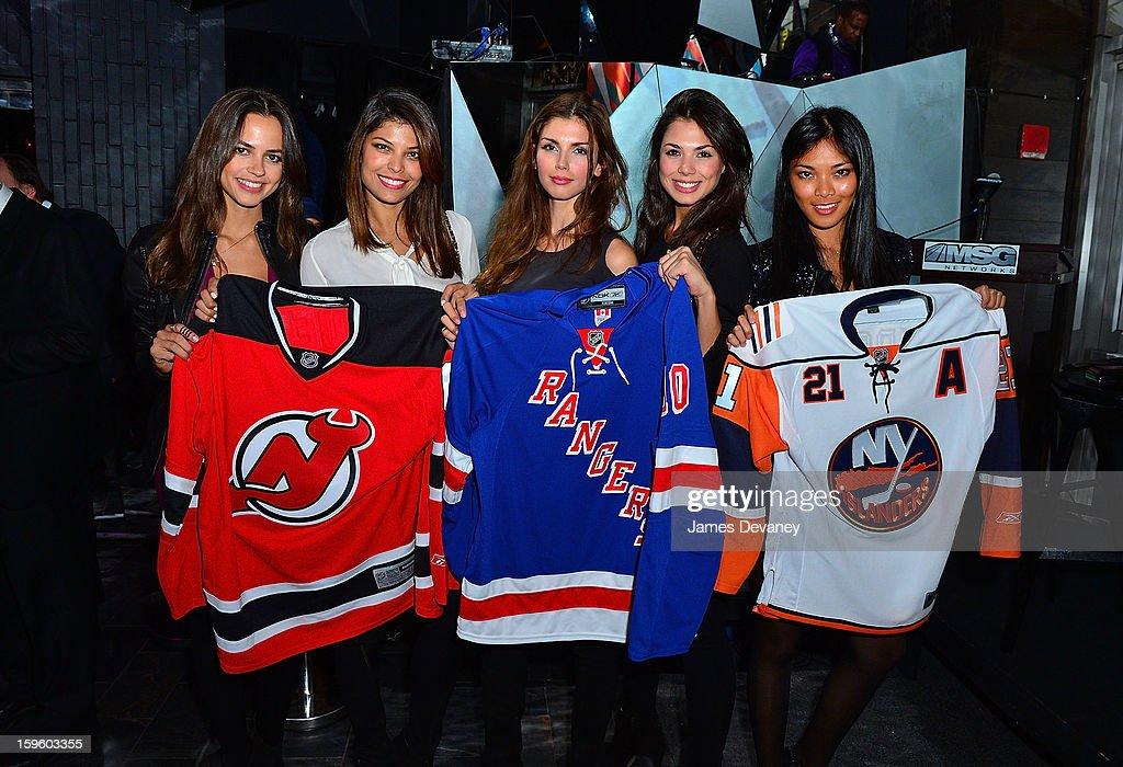 Karla Azevedo, Annalu Campos, Alejandra Cata, Amanda Faical and Meki Saldana attend MSG Networks' 2013 NHL Hockey Season Celebration at Toy Restaurant on January 16, 2013 in New York City.