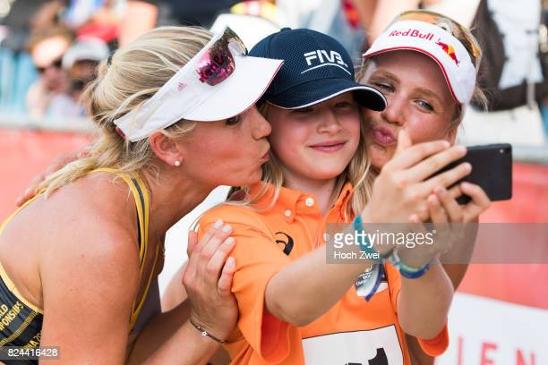 Karla Borger and Margareta Kozuch of Germany taking selfie during Day 2 of the FIVB Beach Volleyball World Championships 2017 on July 29 2017 in...