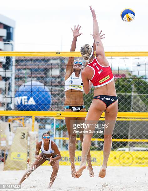 Karla Borger of Germany spikes the ball against Argentina during the quarters final match at Pajucara beach during day five of the FIVB Beach...