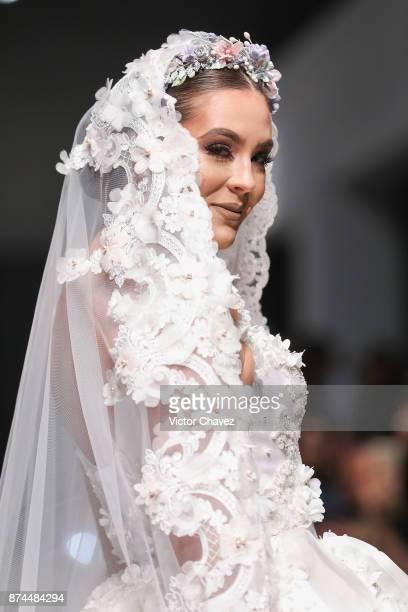 Karla Carrillo walks the runway during the Benito Santos show at Mercedes Benz Fashion Week Mexico Spring/Summer 2018 at Altto San Angel on November...