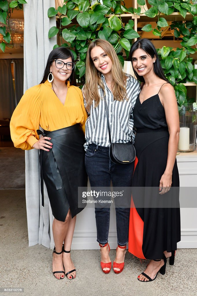 Karla Gallardo, Jessica Alba and Shilpa Shah at Cuyana Essential Women Event on July 26, 2017 in West Hollywood, California.