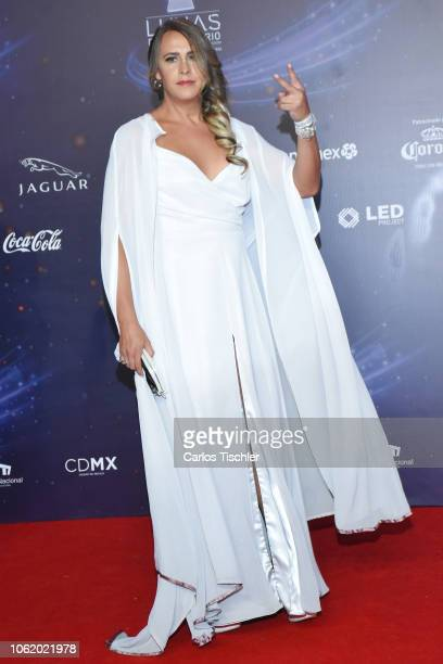 Karla Gascon poses for photos on the red carpet before the XVII Lunas del Auditorio award ceremony at Auditorio Nacional on October 31 2018 in Mexico...