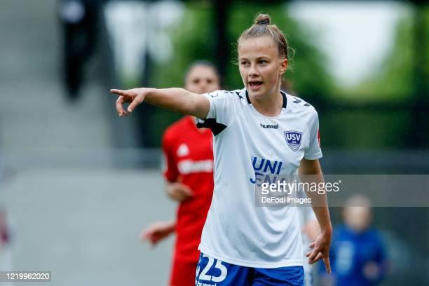 Karla Goerlitz of FF USV Jena gestures during the Flyeralarm Frauen Bundesliga match between FC Bayern Munich Women's and FF USV Jena Women's at FC...