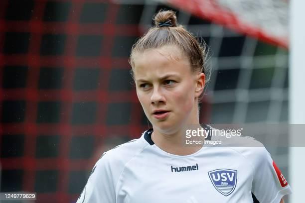 Karla Goerlitz of FF USV Jena looks on during the Flyeralarm Frauen Bundesliga match between FC Bayern Munich Women's and FF USV Jena Women's at FC...