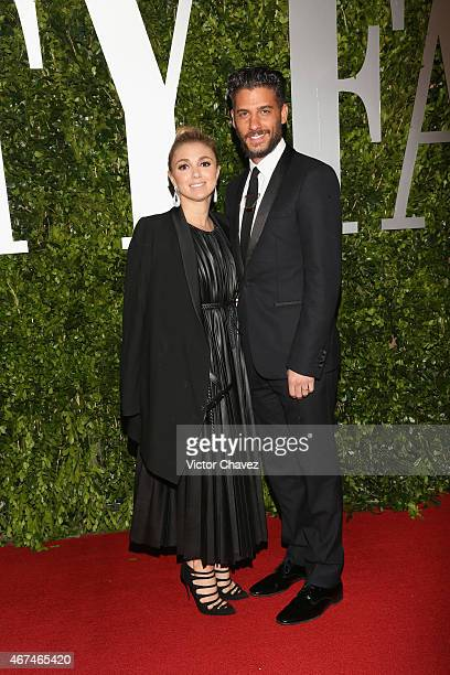 Karla Guindi and Erick Elias attend the Vanity Fair México magazine launch at Casa Del Lago on March 24 2015 in Mexico City Mexico