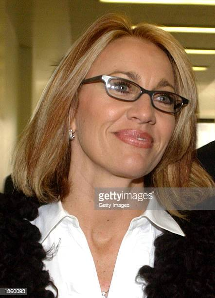 Karla Knafel arrives at Cook County Chancery Court to hear attorney arguements March 20 2003 in Chicago Illinois Basketball star Michael Jordan filed...