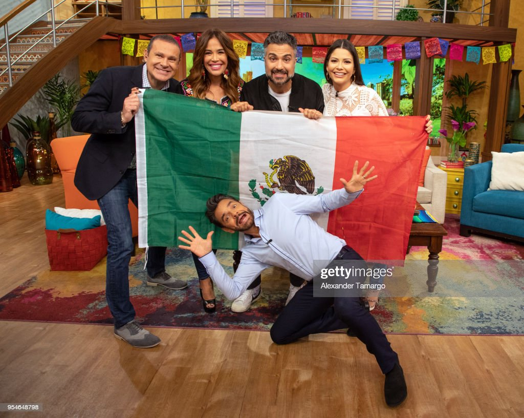 Karla Martinez, Alan Tacher, Eugenio Derbez, Jaime Camil and Ana Patricia Gamez are seen on the set of 'Despierta America' at Univision Studios to promote the film 'Overboard' on May 4, 2018 in Miami, Florida.