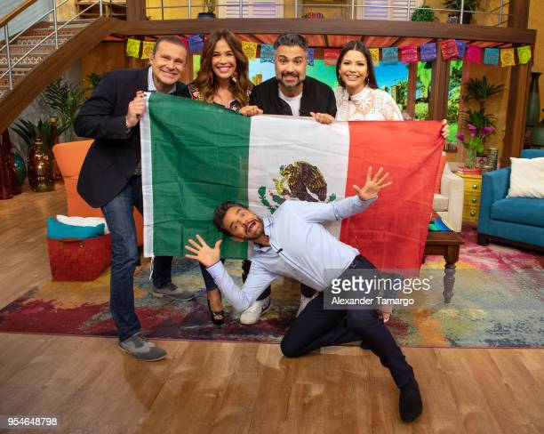 Karla Martinez Alan Tacher Eugenio Derbez Jaime Camil and Ana Patricia Gamez are seen on the set of 'Despierta America' at Univision Studios to...
