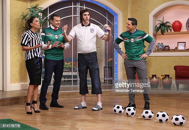 Karla Martinez Alan Tacher Sacha Baron Cohen and Alejandro Chaban are seen on the set of 'Despierta America' to promote the film 'The Brothers...