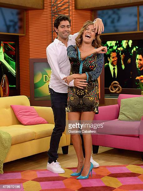 Karla Martinez and Adrian Grenier is On The Set Of Despierta America to promote 'Entourage' at Univision Studios on May 19 2015 in Miami Florida