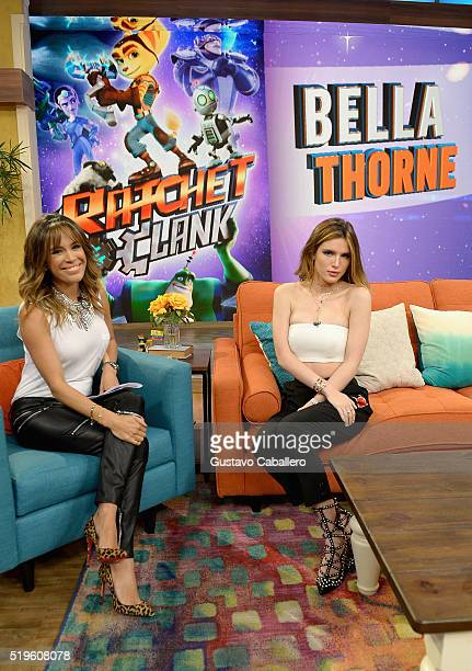 Karla Martinez and Bella Thorne are seen on the setof Univisions despierta America in support of the film Ratchet Clank at Univision Headquarters on...