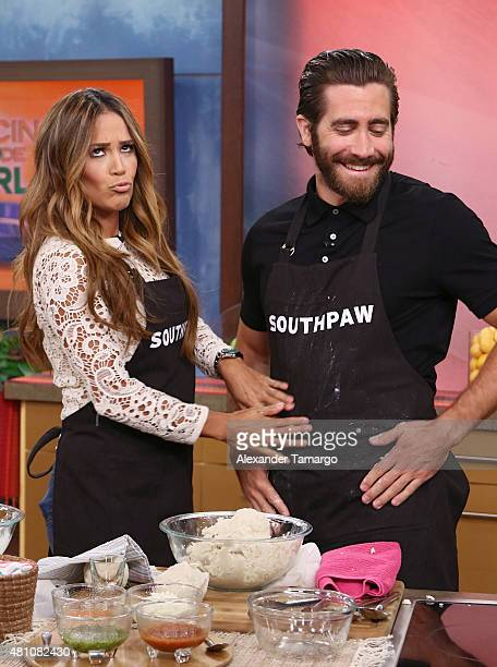 Karla Martinez and Jake Gyllenhaal are seen on the set of 'Despierta America' to promote his film 'Southpaw' at Univision Studios on July 17 2015 in...
