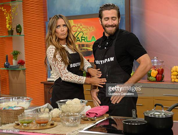 Karla Martinez and Jake Gyllenhaal on the set of 'Despierta America' to promote the film 'Southpaw' at Univision Studios on July 17 2015 in Miami...