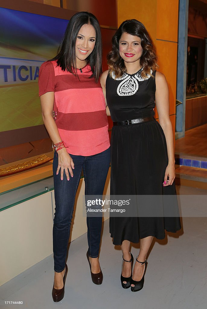 Karla Martinez (L) and Melonie Diaz appear on Univision's 'Despierta America' morning show at Univision Headquarters on June 28, 2013 in Miami, Florida.