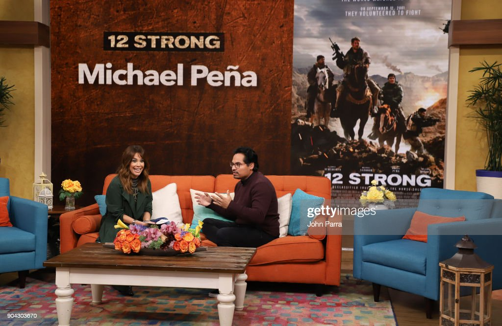 Karla Martinez and Michael Pena are seen at 'Despierta America' at Univision Studios to promote 12 STRONG on January 12, 2018 in Miami, Florida.