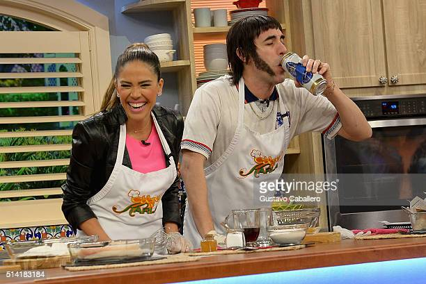 Karla Martinez and Sacha BaronCohen on the set of Univision's 'Despierta America' to promote 'The Brothers Grimsby' at Univision Studios on March 7...