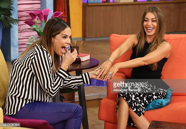 Karla Martinez and Sofia Vergara wake up in Miami with Univision's Despierta America to talk health love and life at Univision Studios on February 26...