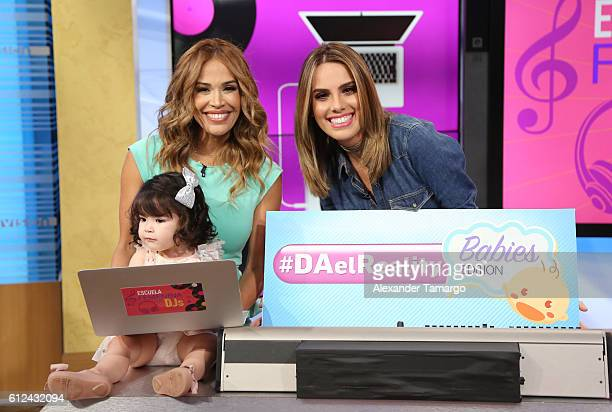 Karla Martinez Andrea Chediak and Giulietta Martinez are seen on the set of Despierta America at Univision Studios on October 4 2016 in Miami Florida