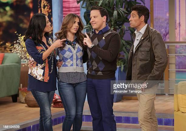 Karla Martinez Andrea Chediak Raul Gonzalez and Johnny Lozada are seen on the set of Despierta America at Univision Headquarters on November 15 2013...