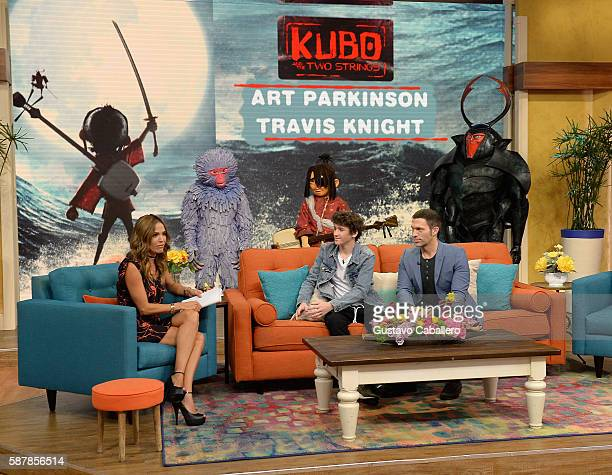 Karla Martinez Art Parkinson and Travis Knight are seen on the set of Univisions Despierta America to support the film Kubo and the Two Strings at...