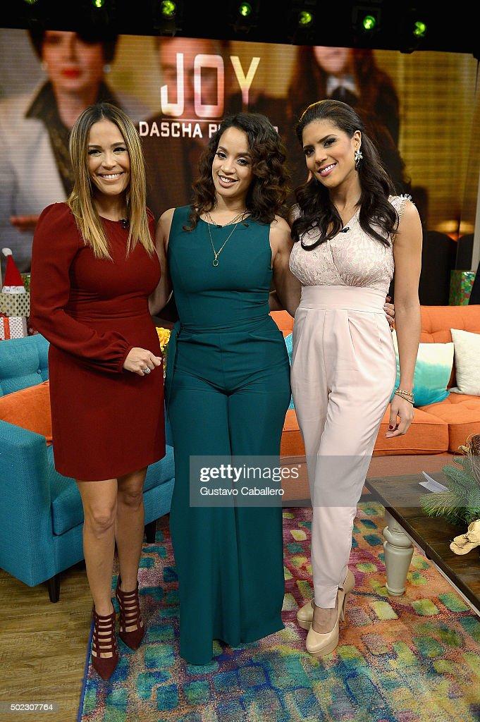 Karla Martinez, Dascha Polanco and Francisca Lachapel visitthe set of Univision's 'Despierta America' at Univision Studios on December 22, 2015 in Miami, Florida.