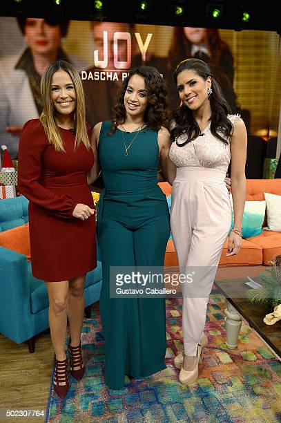 Karla Martinez Dascha Polanco and Francisca Lachapel visitthe set of Univision's 'Despierta America' at Univision Studios on December 22 2015 in...
