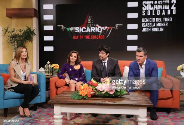 Karla Martinez Isabella Moner Benicio del Toro and Josh Brolin are seen on the set of Despierta America at Univision Studios to promote the film...