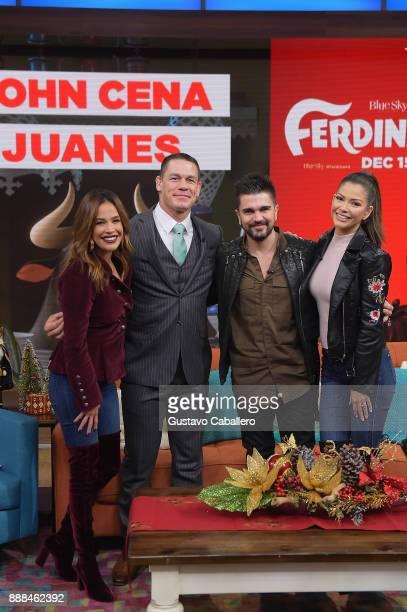 Karla Martinez John Cena Juanes and Ana Patricia Gamez are seen on the set of 'Despierta America' to promote the film 'Ferdinand' at Univision...