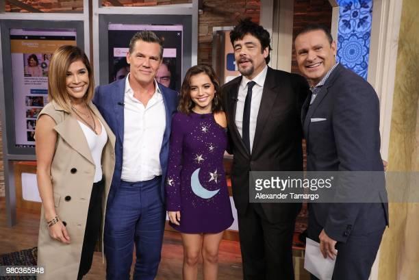 Karla Martinez Josh Brolin Isabella Moner Benecio del Toro and Alan Tacher are seen on the set of Despierta America at Univision Studios to promote...