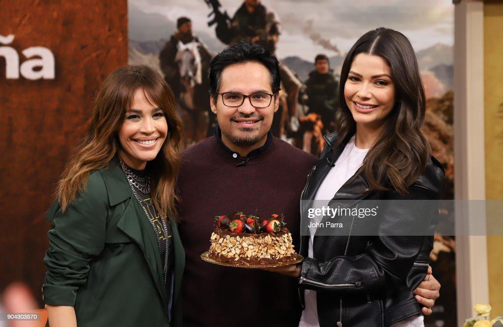 Karla Martinez, Michael Pena and Ana Patricia Gamez are seen at 'Despierta America' Univision Studios to promote 12 STRONG on January 12, 2018 in Miami, Florida.