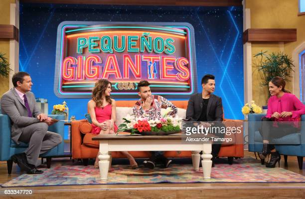 Karla Martinez Prince Royce Bianca Marroquin Luis Coronel and Alan Tacher are seen on the set of 'Despierta America' to promote the television show...