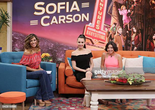 Karla Martinez Sofia Carson and Angela Aguilar are seen on the set of 'Despierta America' to promote the film 'Adventures In Babysitting' at...