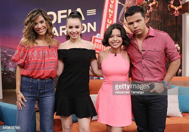 Karla Martinez Sofia Carson Angela Aguilar and Leonardo Antonio Aguilar are seen on the set of 'Despierta America' to promote the film 'Adventures In...