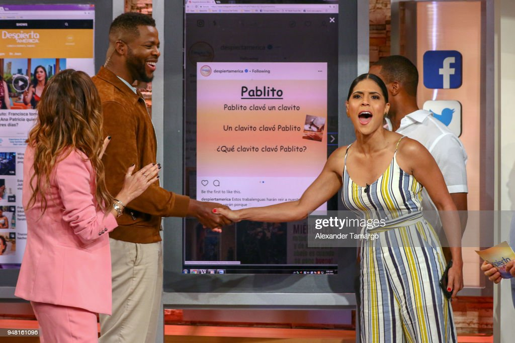 Karla Martinez, Winston Duke, Francisca Lachapel and Anthony Mackie are seen on the set of 'Despierta America' at Univision Studios to promote the film 'Avengers Infinity War' on April 18, 2018 in Miami, Florida.