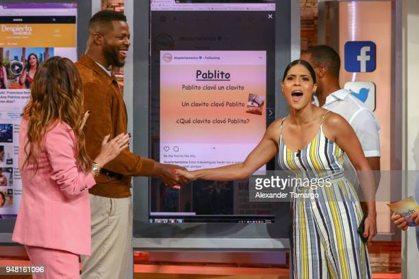 Karla Martinez Winston Duke Francisca Lachapel and Anthony Mackie are seen on the set of 'Despierta America' at Univision Studios to promote the film...