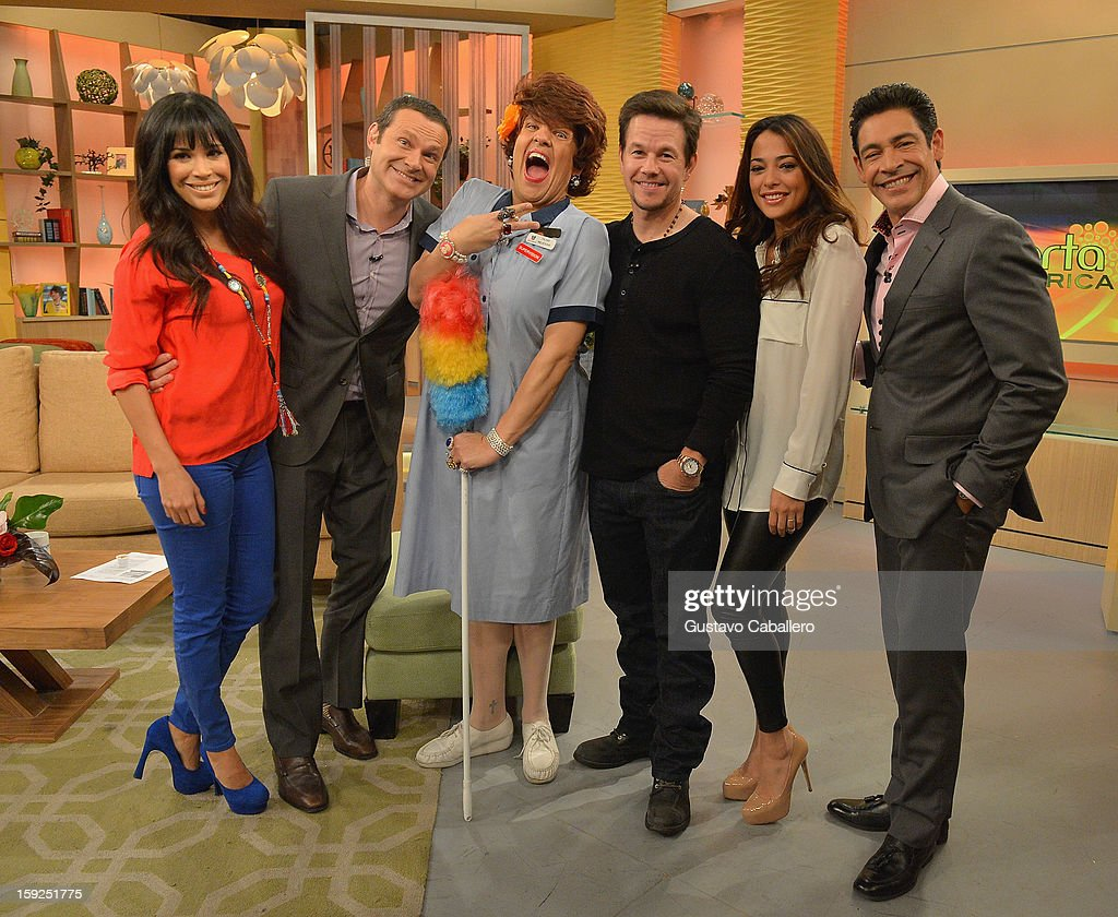 Karla Martinez,Alan Tacher,Raul Gonzalez,Mark Wahlberg,Natalie Martinez and Johnny Lozada on The Set Of Despierta America to promote new film 'Broken City'>> at Univision Headquarters on January 10, 2013 in Miami, Florida.