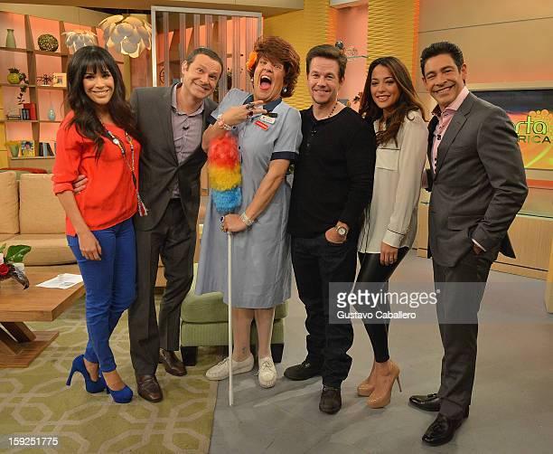Karla MartinezAlan TacherRaul GonzalezMark WahlbergNatalie Martinez and Johnny Lozada on The Set Of Despierta America to promote new film Broken...