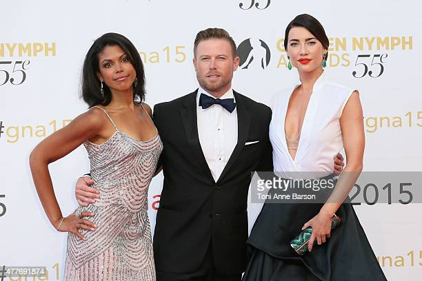 Karla Mosley Jacob Young and Jacqueline MacInnes Wood attend the 55th Monte Carlo TV Festival Closing Ceremony and Golden Nymph Awards at the...