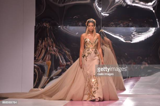 Karla Mosley the star of The bold and the Beautiful TV fame wears GertJohan Coetzee Autumn and Winter 2018 Collections during day 4 of the South...