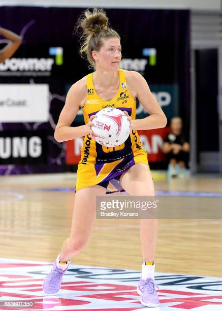 Karla Mostert of the Lightning looks to pass during the round seven Super Netball match between the Lightning and the Firebirds at University of the...