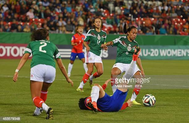 Karla Nieto of Mexico fouls Lee Geummin of Korea Republic to concede a penalty during the FIFA U20 Women's World Cup Canada 2014 Group D match...