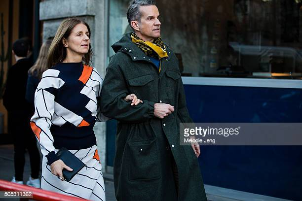 Karla Otto and Alexander Werz exit the Jil Sander show during the Milan Men's Fashion Week Fall/Winter 2016/17 on January 16 2016 in Milan Italy