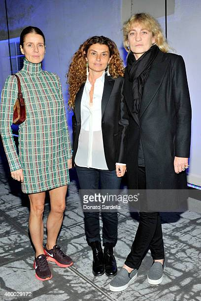 Karla Otto Paola Russo and Victoria Niarchos attend the launch of Just One Eye's Ulysses Tier 1 The Ultimate Disaster Relief Kit on December 5 2014...